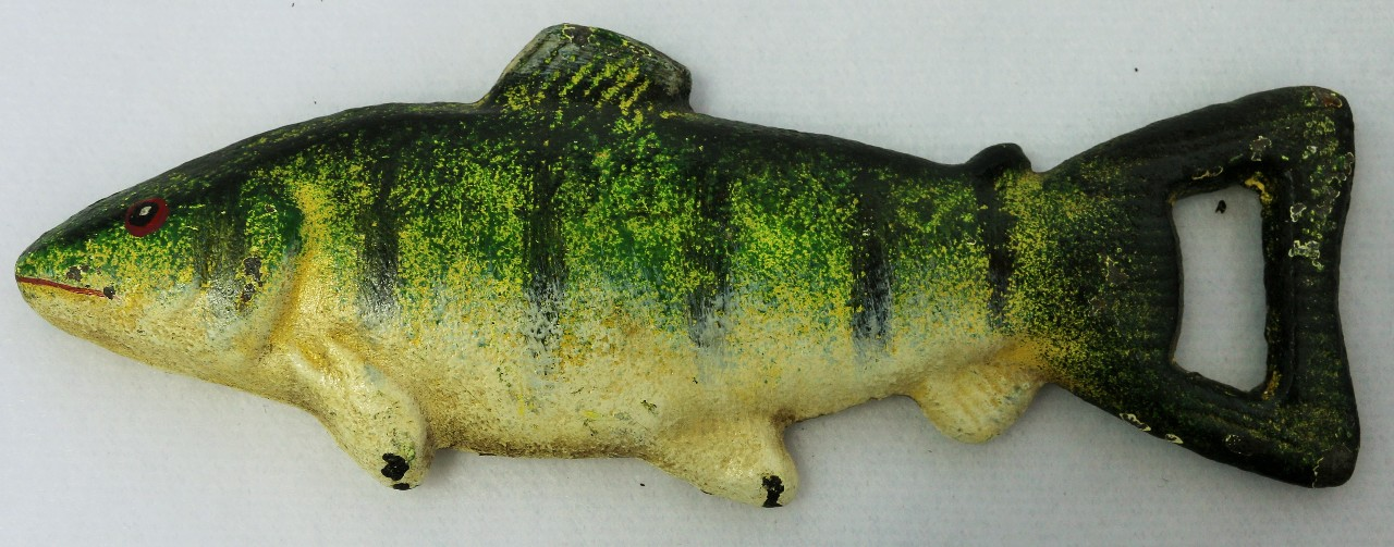 Cast iron fish bottle opener fishing camping cabin decor for Does fish have iron