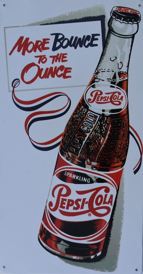 Pepsi More Bounce To The Ounce Tin Sign Cola Pop Soda