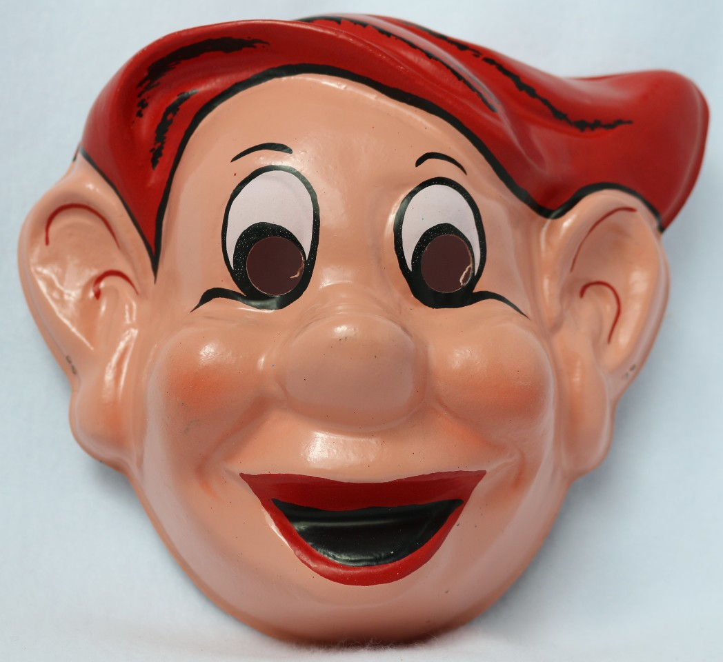 Vintage Walt Disney Snow White and the Seven Dwarfs  Dopey Halloween Mask