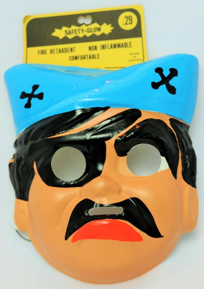 Vintage Pirate Halloween Mask Cartoon 1960's 1967 Medica Safety Glow