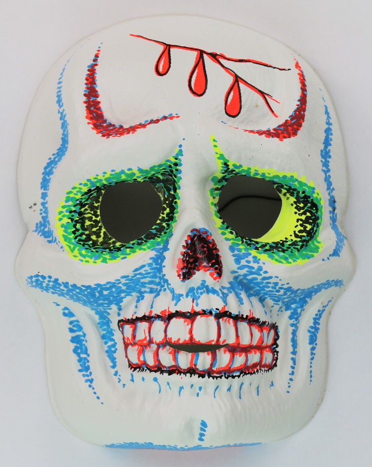 vintage sugar skull halloween mask zest 1960s 60s skeleton day of the dead black light