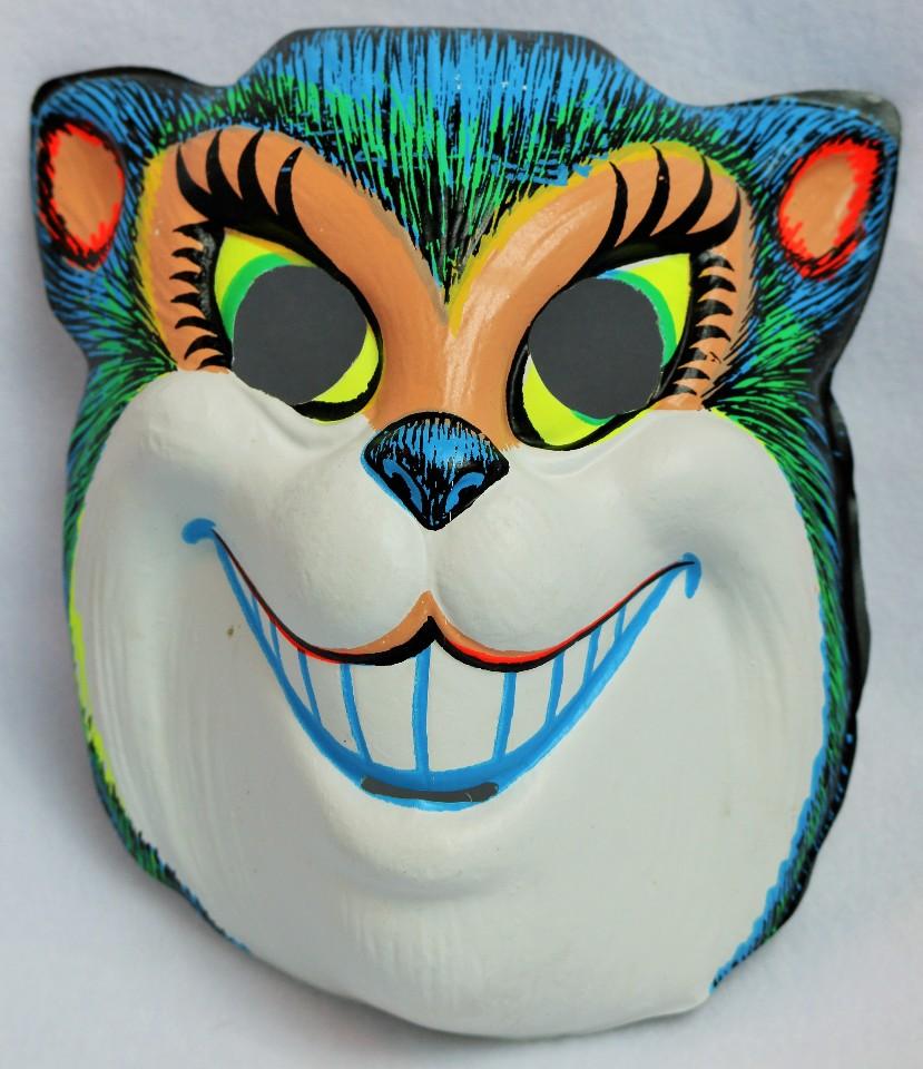 Vintage Smiling Cat Halloween Mask Zest 1960's 60's Black Light ...