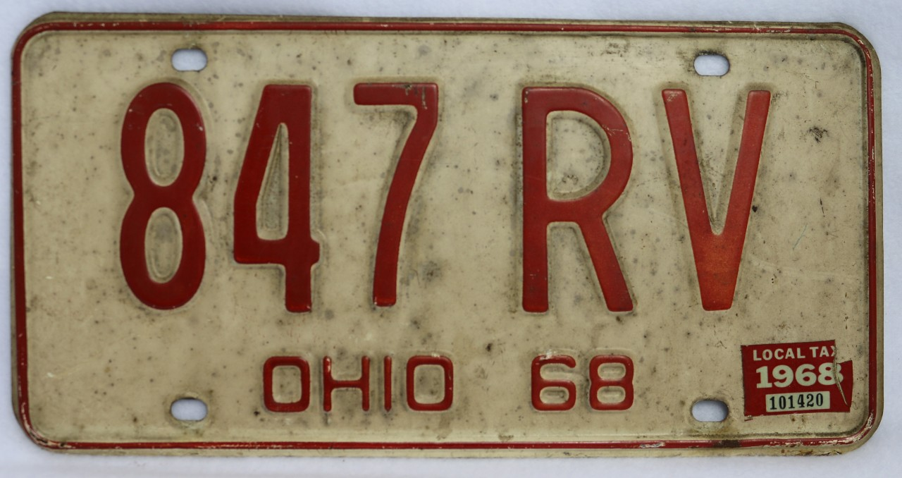 Vintage 1968 License Plate Ohio Hot Rod Muscle Car Historical ...