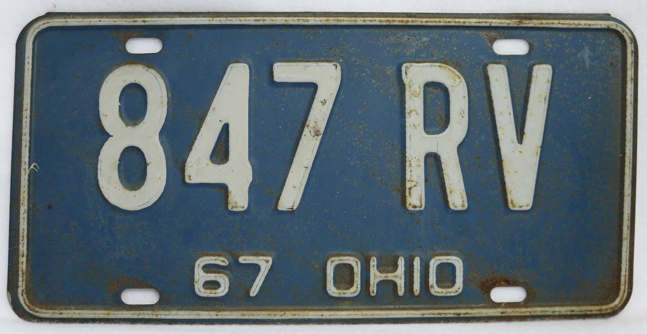 Vintage 1967 license plate ohio hot rod muscle car for Ohio one day fishing license