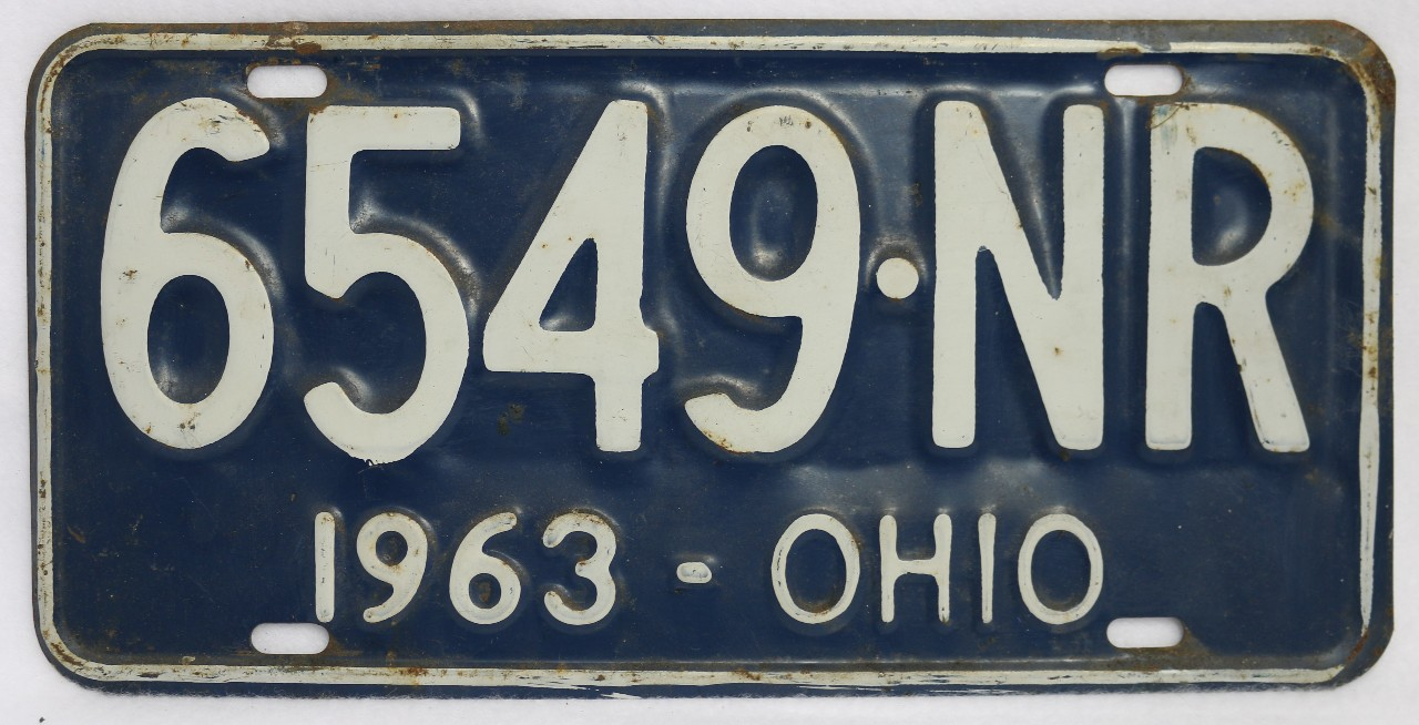 Vintage 1963 license plate ohio hot rod muscle car for Ohio one day fishing license
