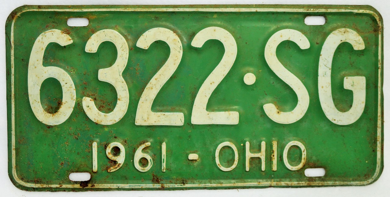 Vintage 1961 License Plate Ohio Hot Rod Muscle Car Historical ...