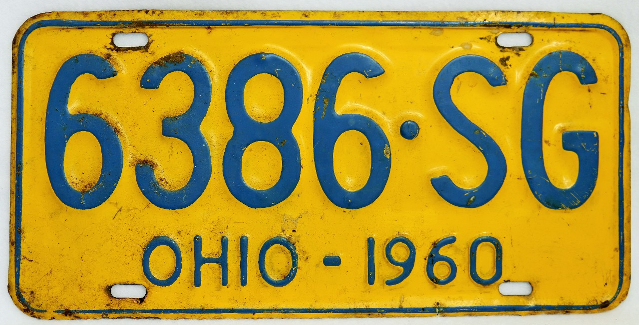 Vintage 1960 License Plate Ohio Hot Rod Muscle Car Historical ...