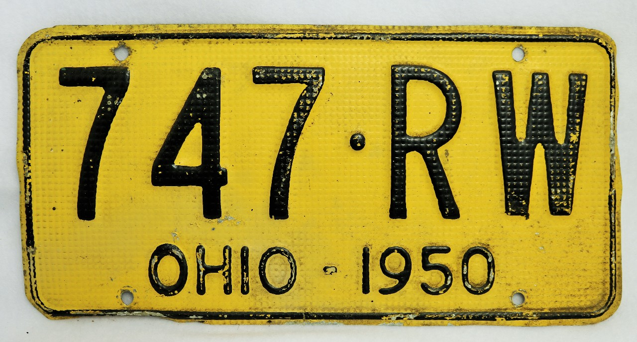 Vintage 1950 License Plate Ohio Hot Rod Muscle Car Historical ...