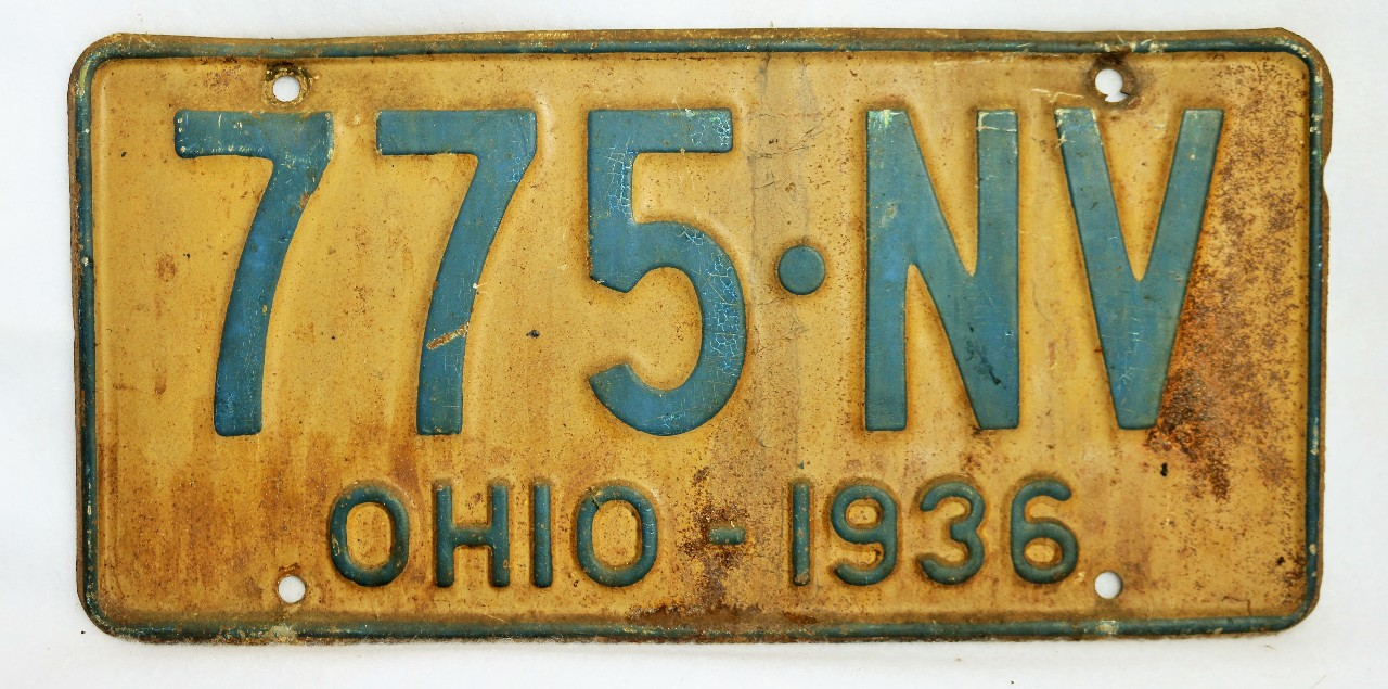 Vintage 1936 License Plate Ohio Hot Rod Muscle Car Historical ...
