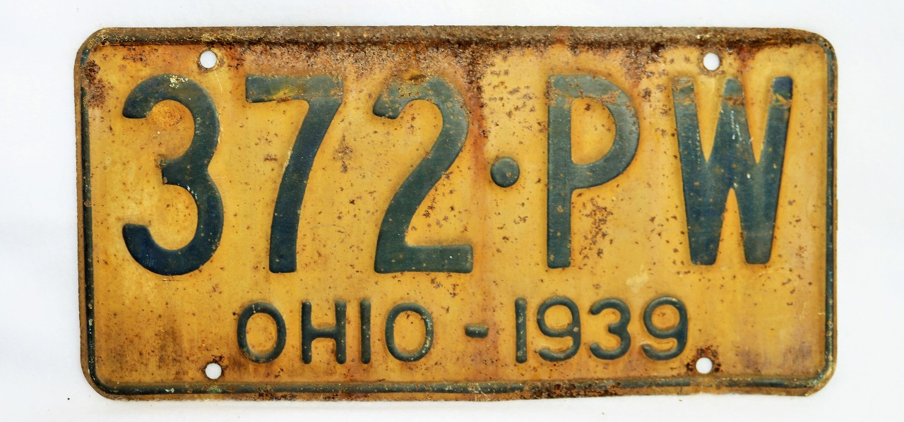 Vintage 1939 License Plate Ohio State Hot Rod Muscle Car Historical ...