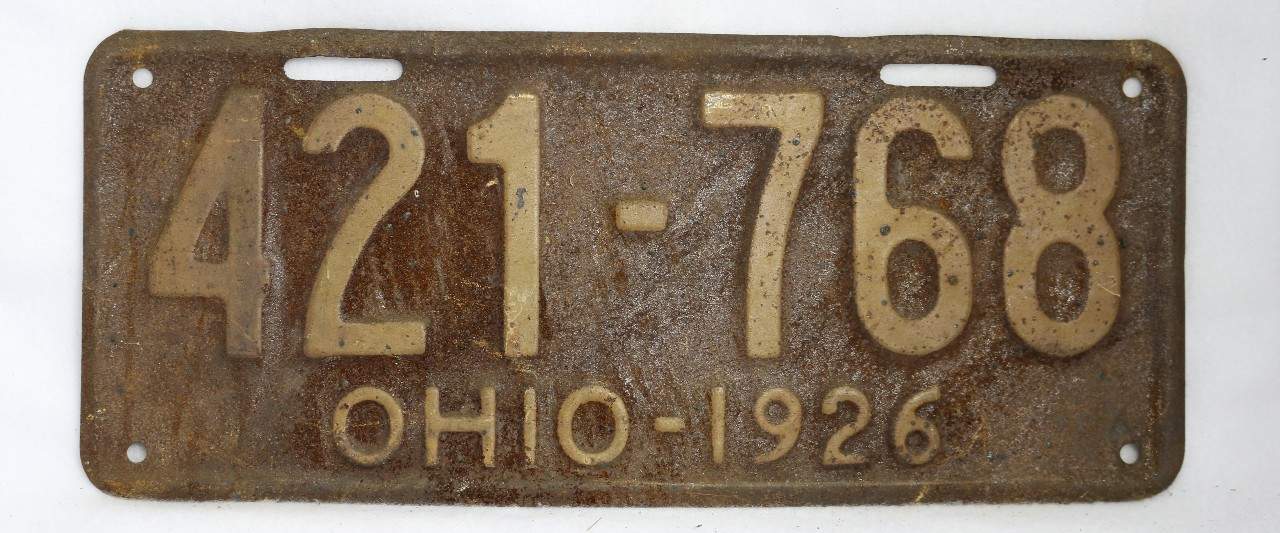 Vintage 1926 License Plate Ohio State Hot Rod Muscle Car