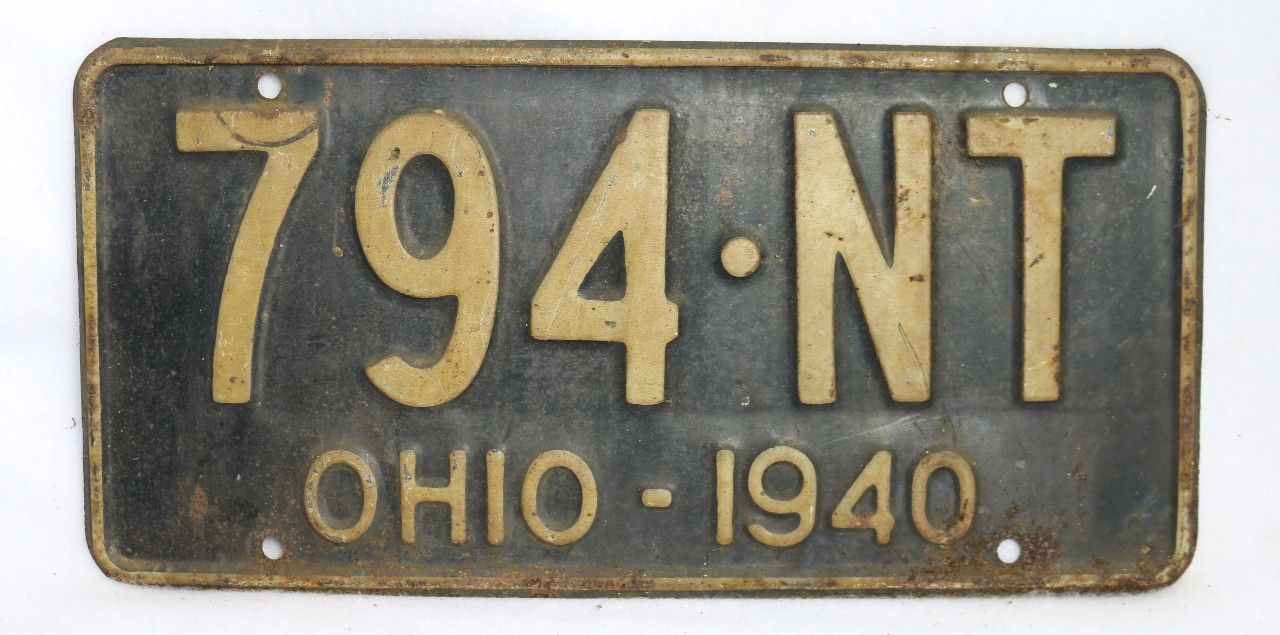 Vintage 1940 license plate ohio state hot rod muscle car for Ohio one day fishing license