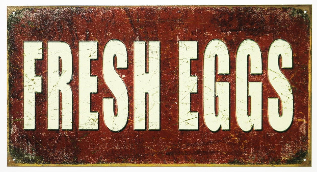 Fresh Eggs Tin Sign Farm Country Kitchen Decor Farmers Market Breakfast E8