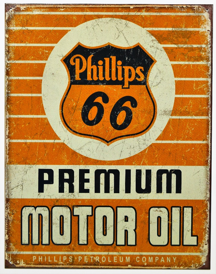 Phillips 66 Oil Tin Metal Sign Mechanic Garage Conoco