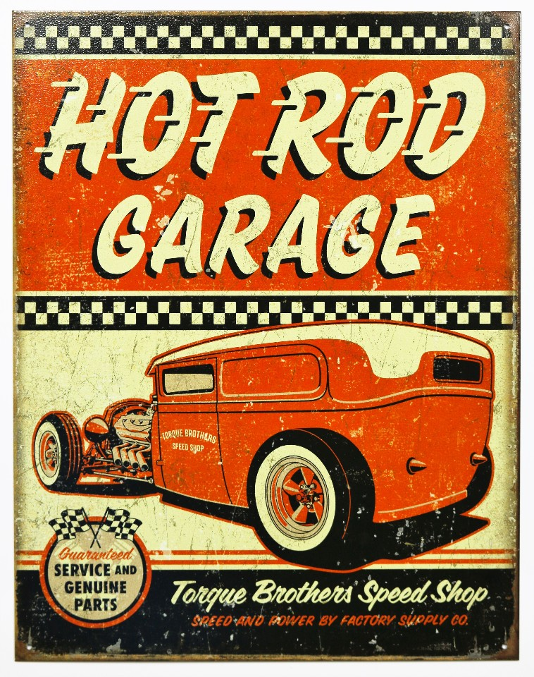 Car Old Garage Signs : Torque brothers hot rod garage tin metal sign mechanic