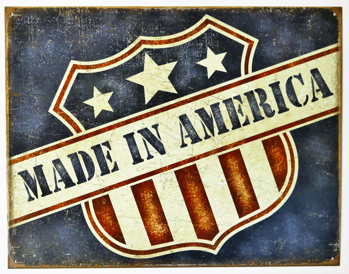 Made In America Tin Metal Sign Small Business Usa United