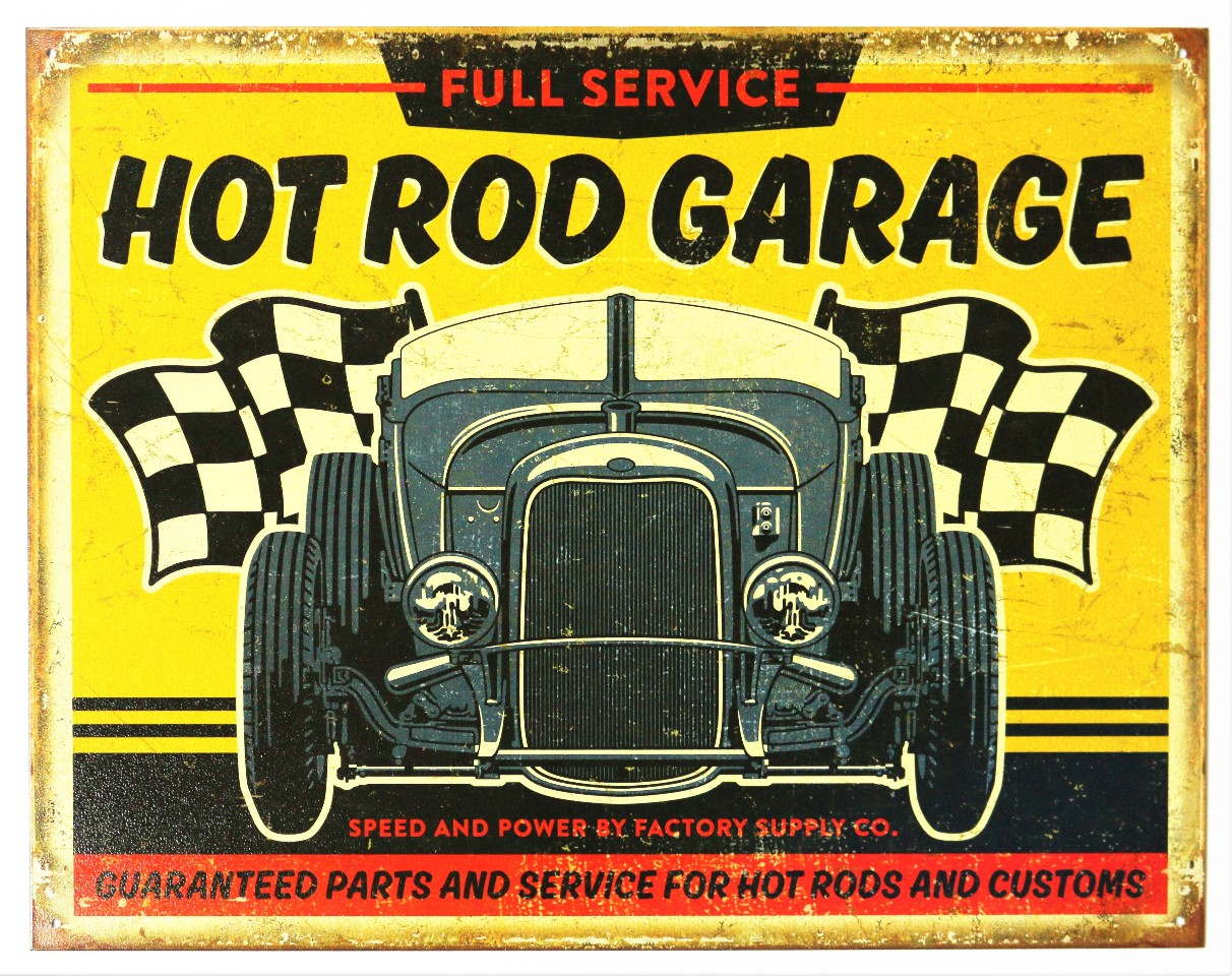 Car Old Garage Signs : Full service hot rod garage tin metal sign rat race