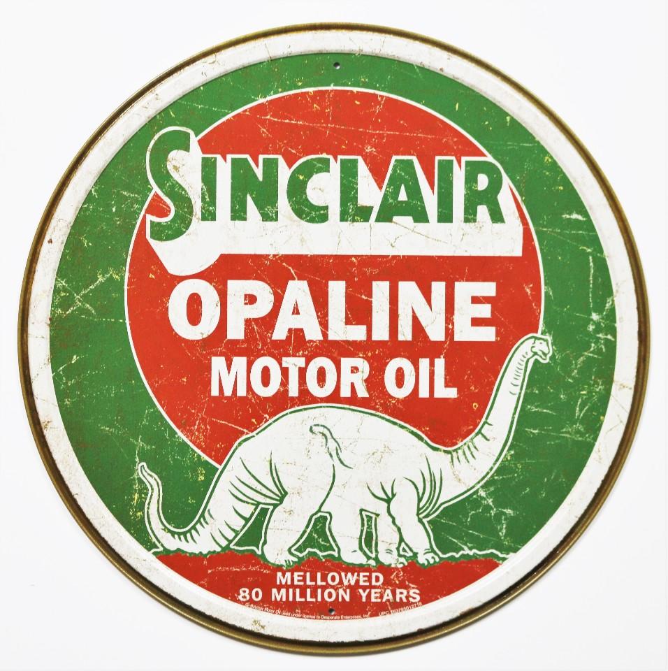 Sinclair Opaline Motor Oil Tin Metal Signs Gasoline Gas Dinosaur Vintage Style | The Wild Robot!