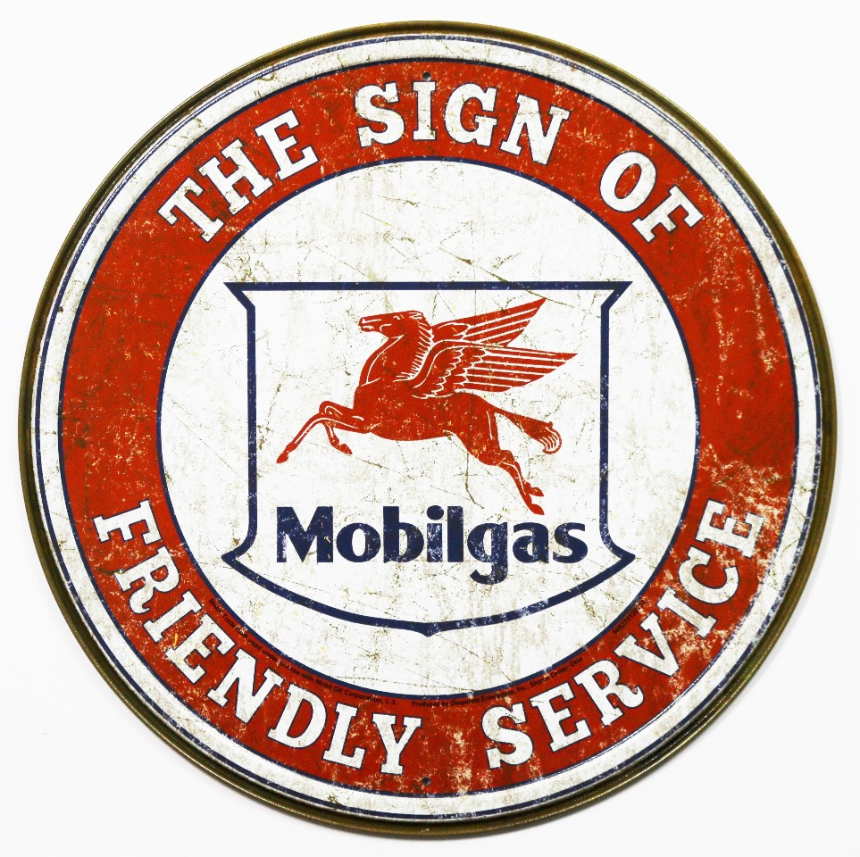 Mobil Gas Card >> Mobilgas Round Tin Metal Signs Gasoline Gas Pegasus Vintage Style Gasoline Oil B | eBay