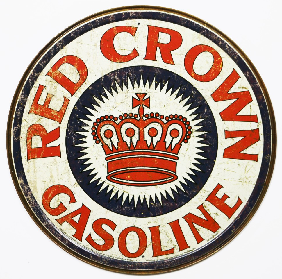 Red Crown Gasoline Pin-Up Metal Sign