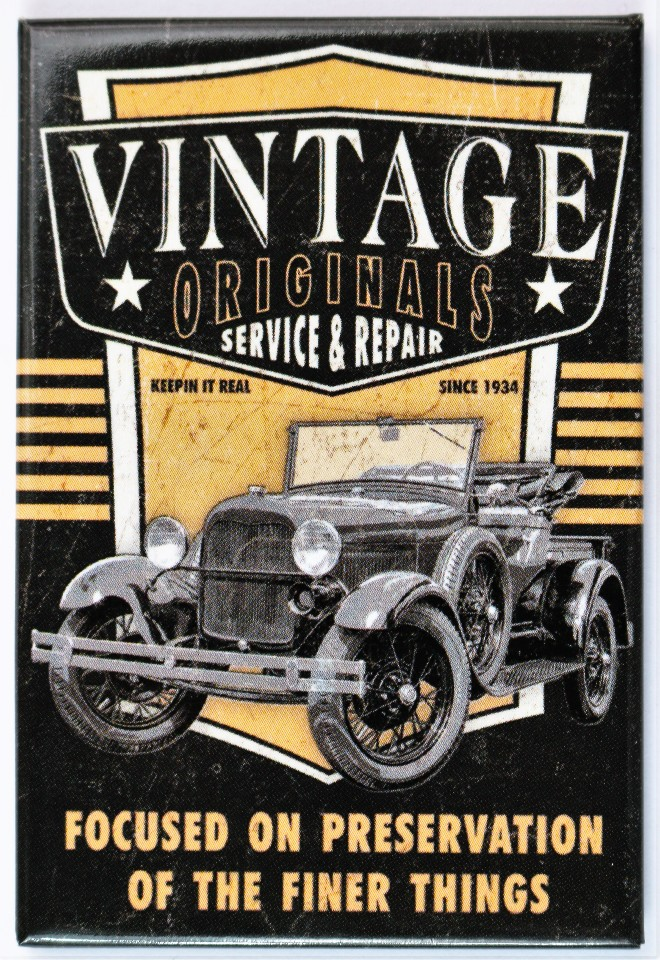 Vintage Originals Service and Repair FRIDGE MAGNET Hot Rod Car ...