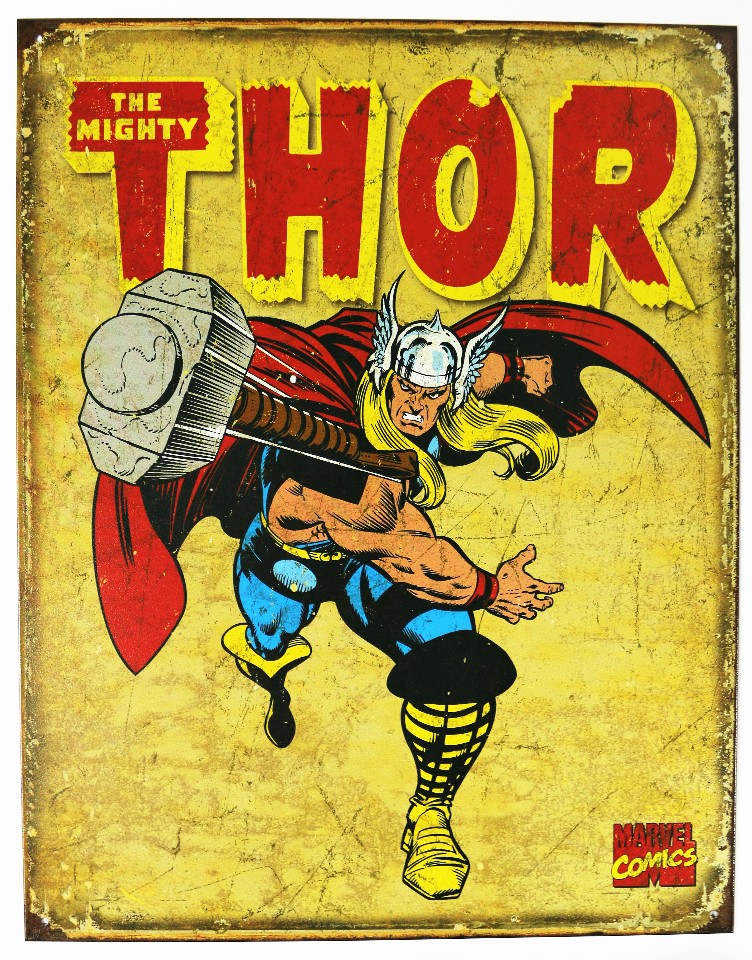 The Mighty Thor Tin Metal Sign Marvel Comics Avengers Iron