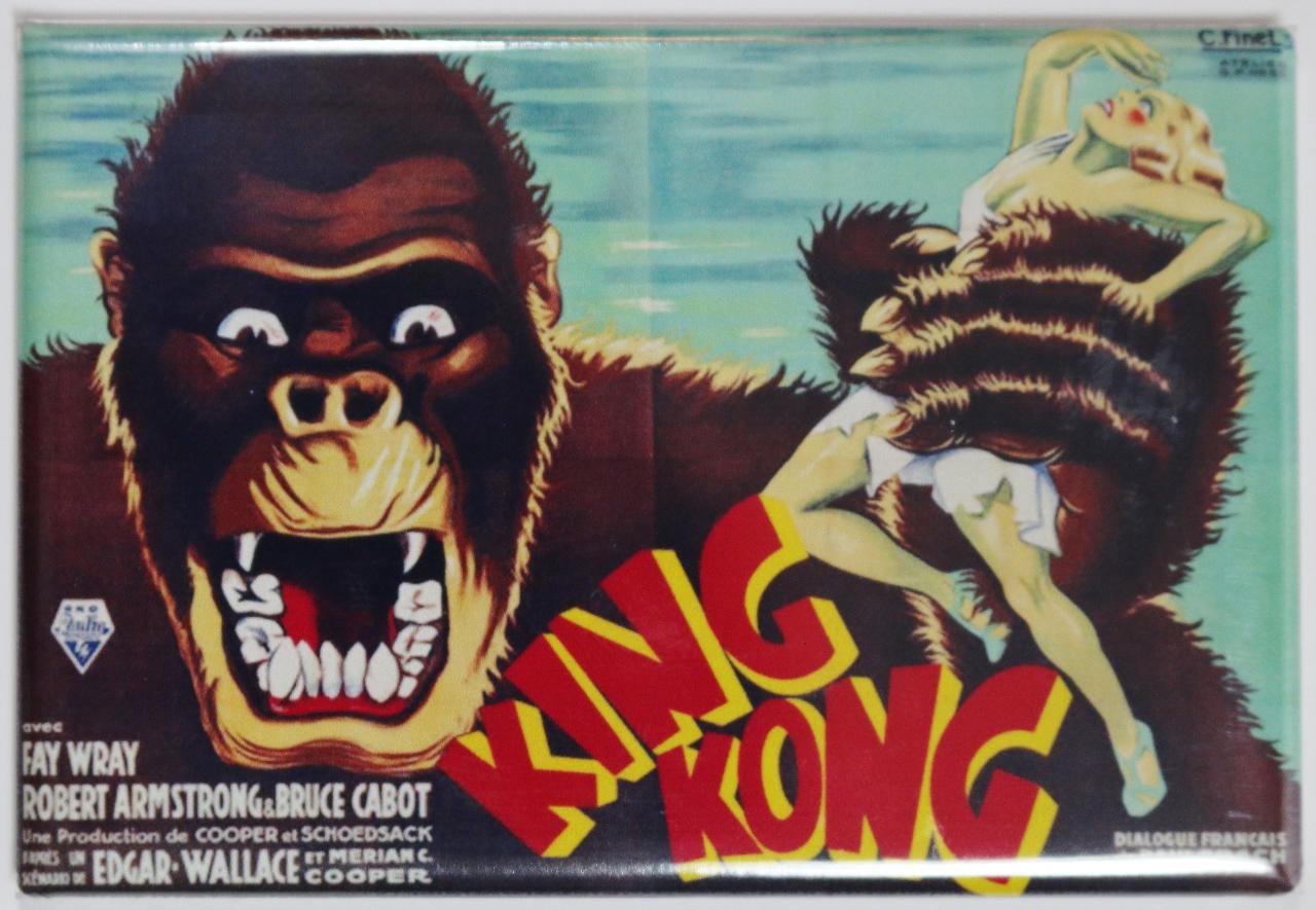 King Kong 1933 Movie Poster Fridge Magnet Monster Vintage Style The Wild Robot