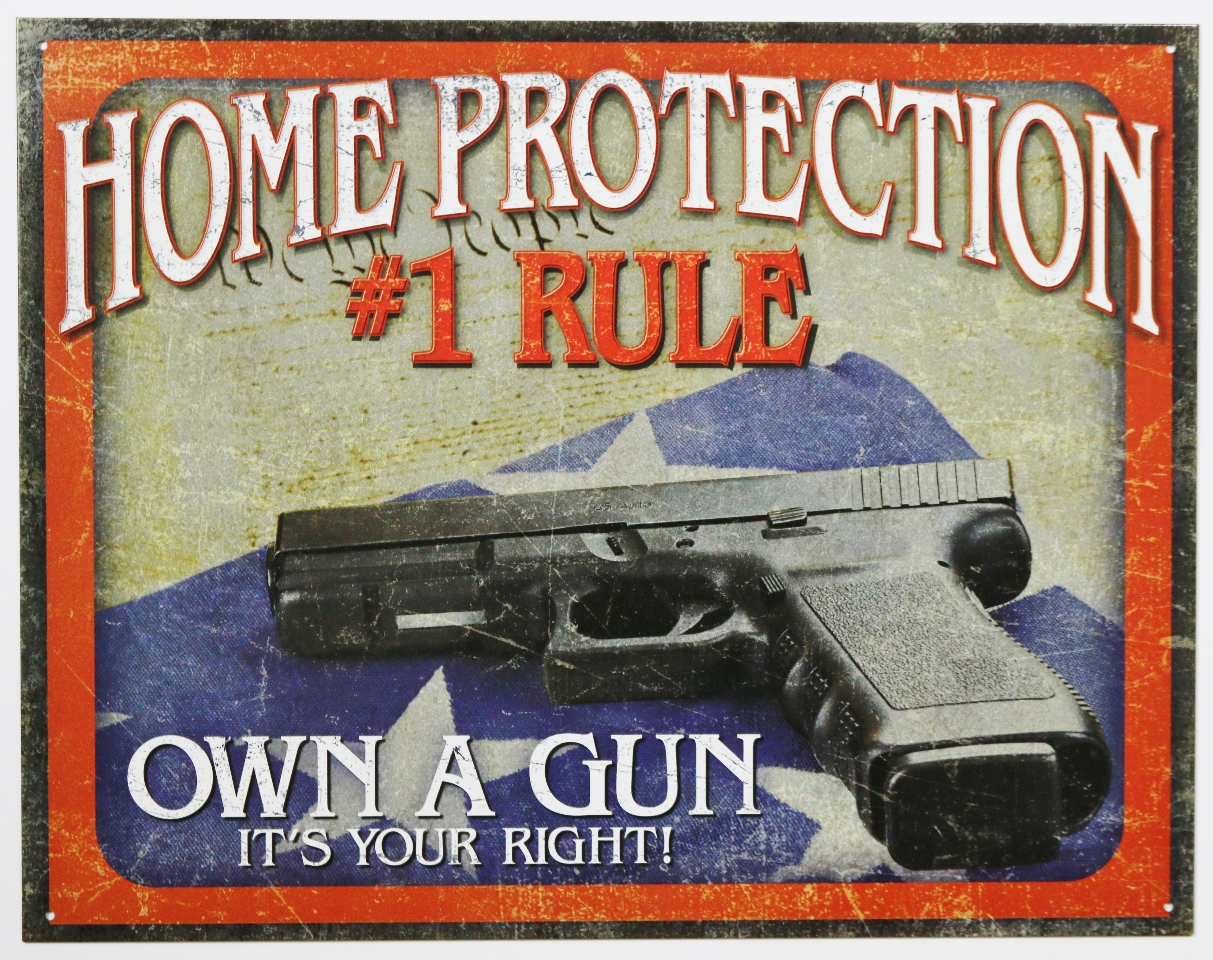 Home Protection Own A Gun Its Your Right Tin Metal Sign