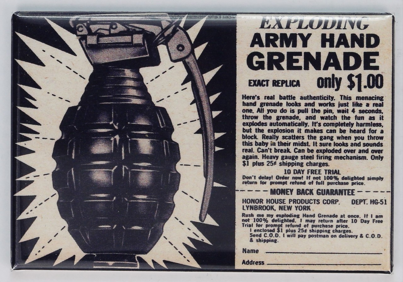 Exploding Army Hand Grenade Comic Book Ad Fridge Magnet