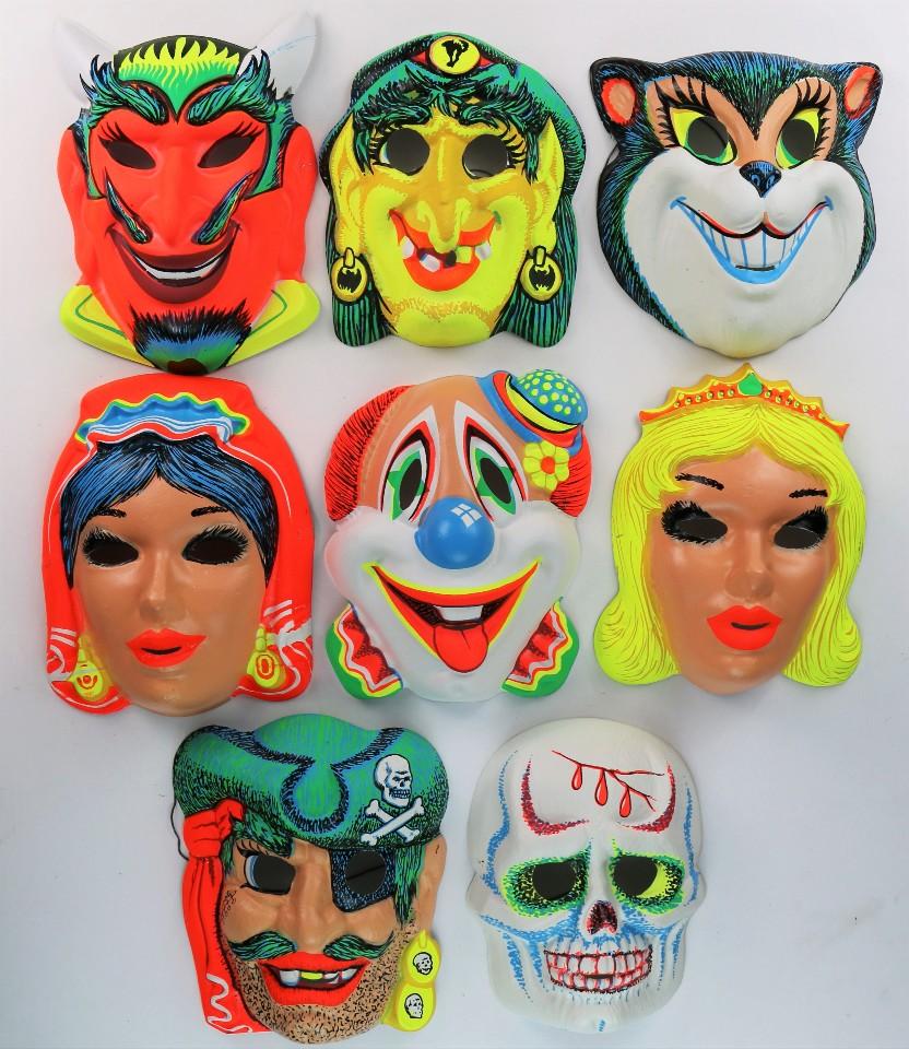 Vintage Halloween Mask Lot Devil Witch Gypsy Pirate Skull Cat ...