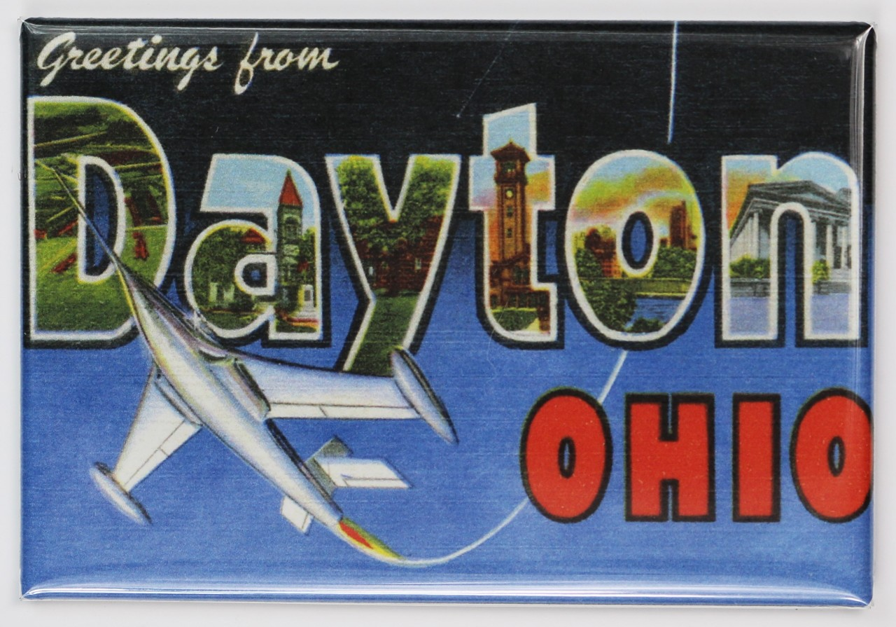 Greetings From Dayton Ohio Fridge Magnet Jet Airplane