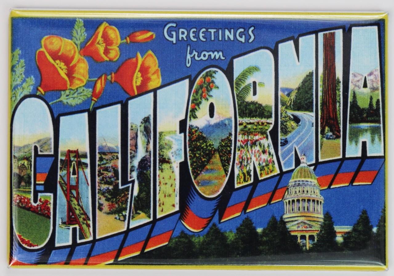 Greetings From California Postcard Fridge Magnet Los