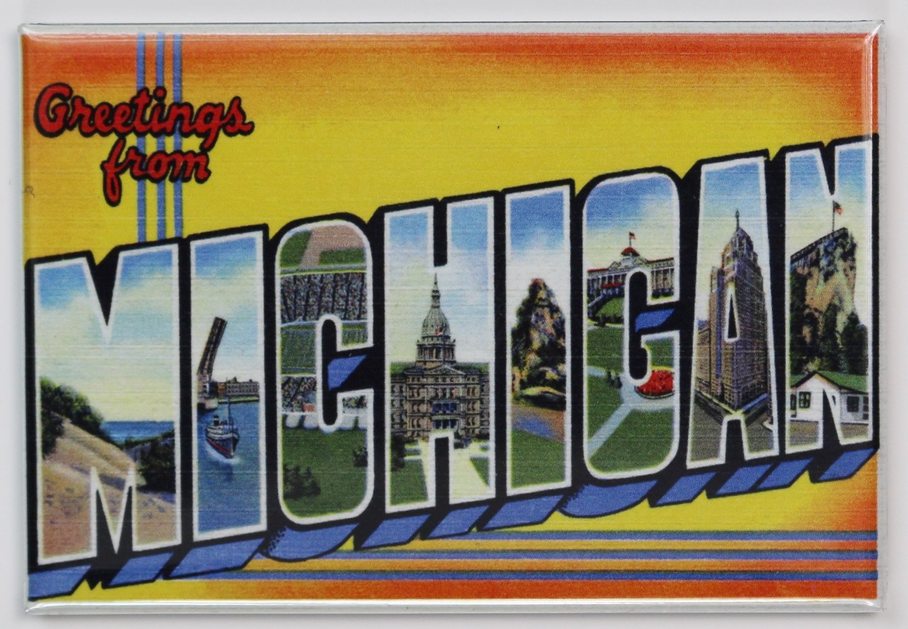 Greetings from michigan postcard fridge magnet detroit great lakes m4hsunfo
