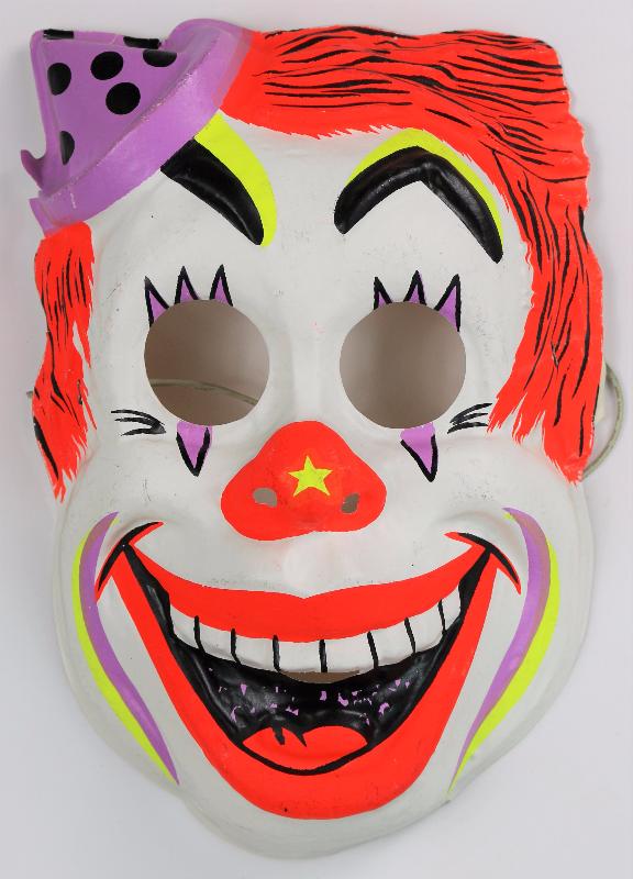 Vintage Clown Halloween Mask Circus Ben Cooper Costume It