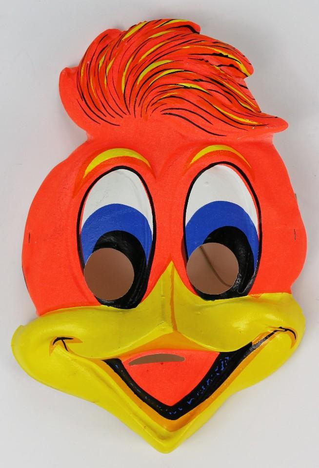 Vintage Woody Woodpecker Halloween Mask Mel Blanc Universal Studios SD3755