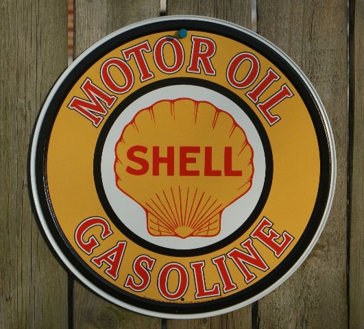 Dixie Auto Salvage >> Shell Motor Oil Round Tin Metal Vintage Style Sign Garage