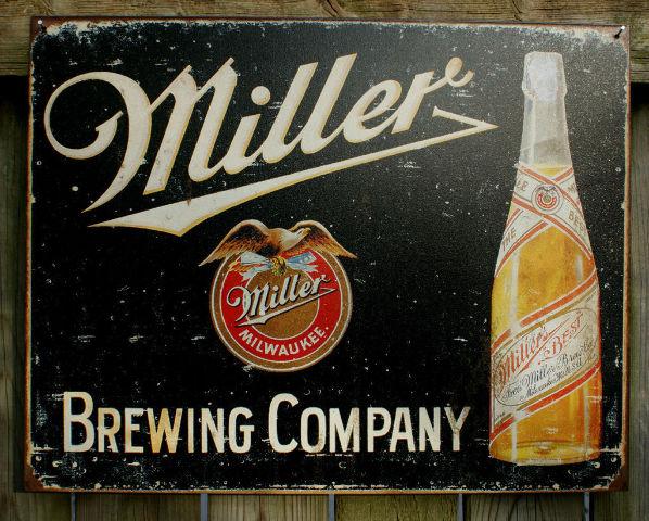 Man Cave Beer Bar : Miller brewing company tin sign beer bar garage man cave