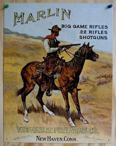 Marlin Rifles Tin Sign Horse Cowboy Western Rodeo Country