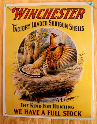 Winchester Shotgun Shells Tin Sign Grouse Riffle Ammo Gun