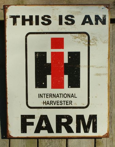 International Harvester Tin Metal Sign Garage Tractor Farm