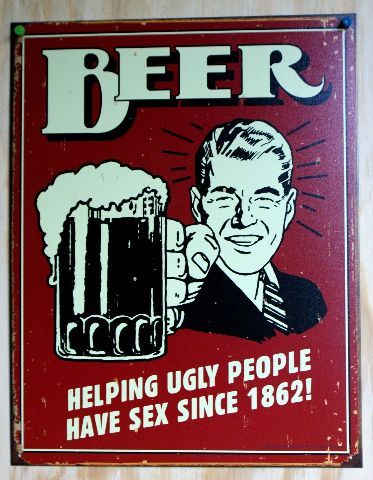 Beer Helping Ugly People Tin Sign Man Cave Garage Home Bar Humor ...