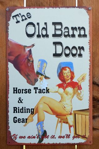 The Old Barn Door Tin Metal Sign Pin Up Girl Country Farm