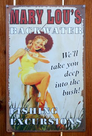 Mary Lou S Backwater Fishing Excursions Tin Metal Sign Pin