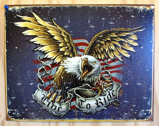 Apple Ford Red Lion >> Live To Ride Tin Sign Sturgis Motorcyle Eagle HD Garage ...