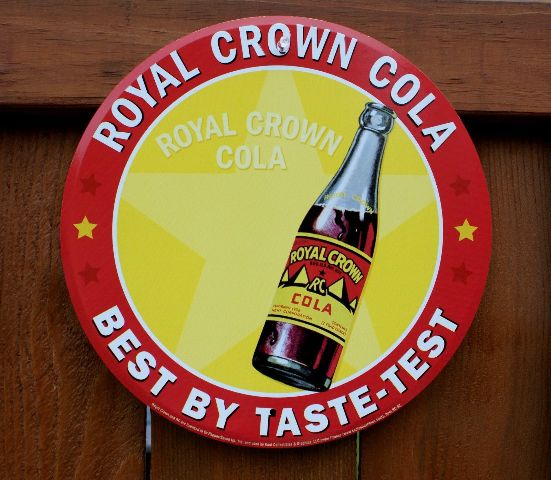 Royal Crown RC Cola Tin Metal Round Bottle Sign Soda Pop