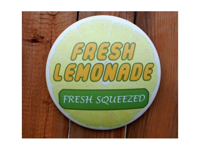 Fresh Squeezed Lemonade Round Tin Metal Sign Home Kitchen Farm Decor Fruit Slice