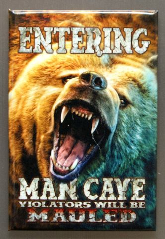 Sd Entering Man Cave Violators Will Be Mauled Refrigerator Fridge Magnet Bear L on 1989 Dodge Dakota Parts