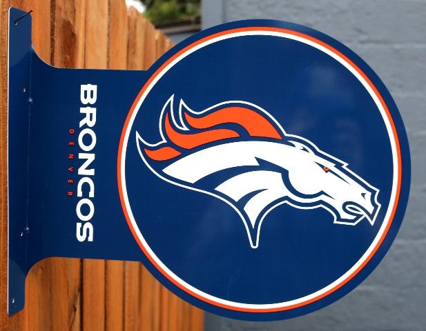 Denver Broncos Flange Tin Metal Sign Double Sided Nfl