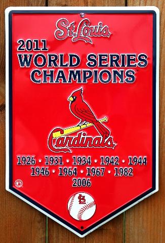 St Louis Cardinals 2011 World Series Champions Tin Metal Sign MLB Baseball G21