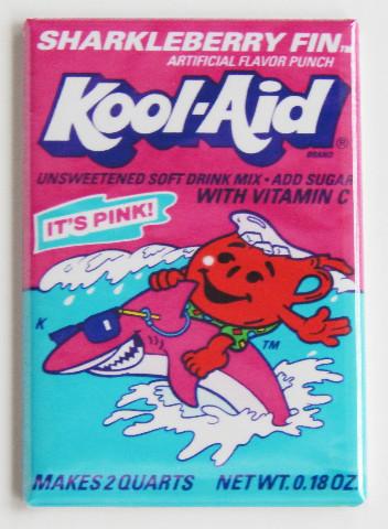 Sharkleberry Fin Koolaid Kool Aid man Pink Shark  wrapper FRIDGE MAGNET K11